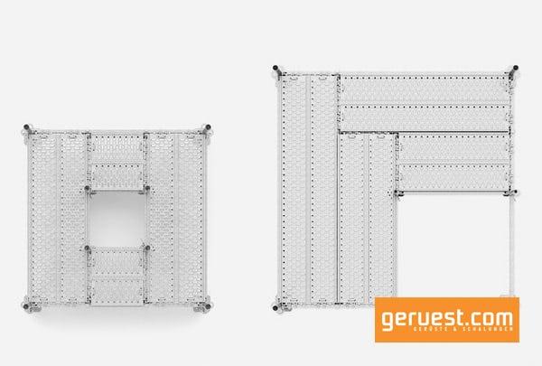 Bei Peri UP kann die Spannrichtung der Beläge innerhalb eines Feldes mit vier tragenden Stielen an nahezu jeder beliebigen Stelle geändert werden.