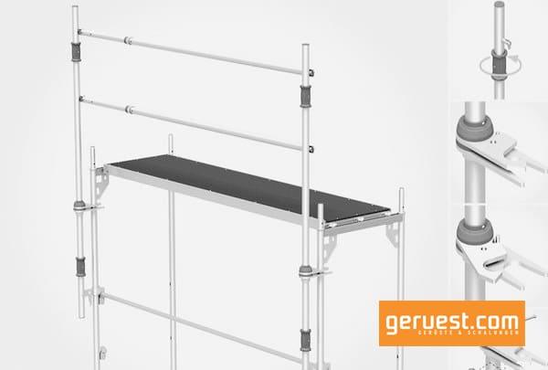 Das aus Montagepfosten und teleskopierbaren Montagegeländern bestehende MSG ist leicht und lässt sich von der gesicherten Lage aus montieren