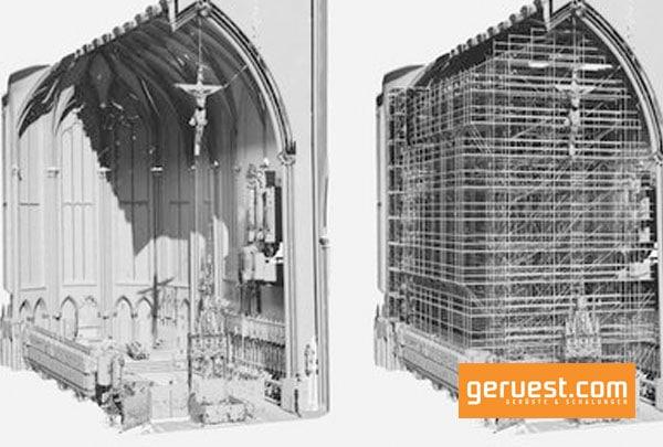 Der Innenraum wurde mangels Bestandsplänen mithilfe von 3D-Laser-Scanning erfasst und in ein 3D-Bauwerksmodell überführt