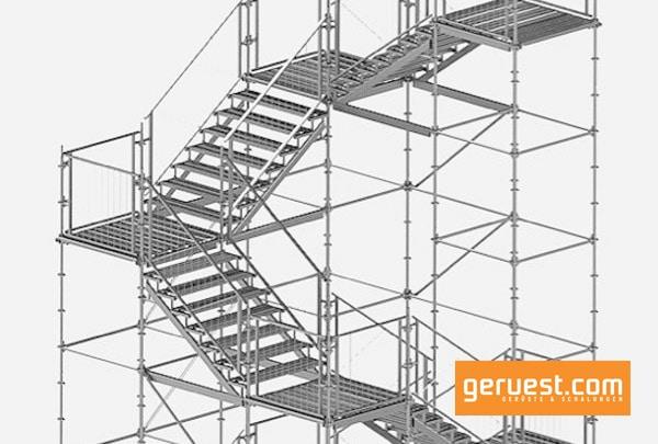 Die Modex Flex Treppe von Hünnebeck wird vor allem bei hohen Anforderungen an die Tragfähigkeit oder die Durchgangsbreite verwendet