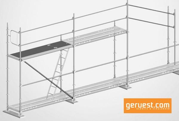Für einen vorlaufenden Seitenschutz ohne zusätzliche Arbeitsschritte hat Layher das Allround Geländer System AGS entwickelt