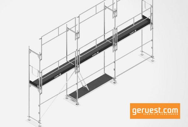 Mit dem neuen Geländer für das Blitz Gerüst stellte Layher eine systemintegrierte Lösung für den geforderten vorlaufenden Seitenschutz mit einer konstruktiv vorgegebenen Montagereihenfolge vor