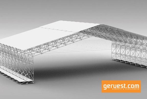 Layher Allround Fachwerkträger ermöglicht Spannweiten für Wetterschutzdächer von 45 Metern