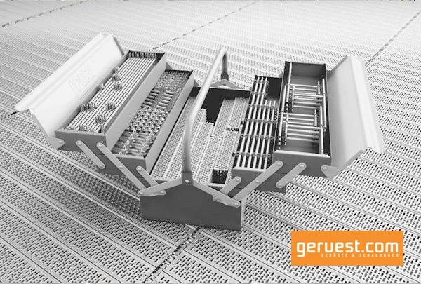 Peri Up Gerüstbaukasten mit weniger Bauteilen bei gleichbleibenden Verbindungsstellen verkürzen die Aufbauzeiten von Gerüsten
