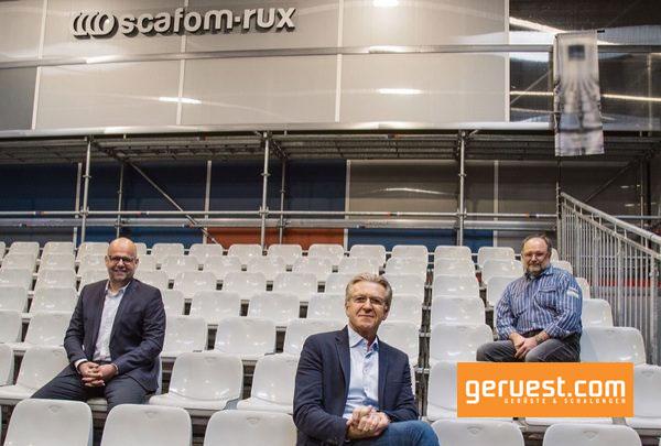 Rux-Vertriebsleiter Marco Hiby, Geschäftsführer Volker Rux und der neue Leiter des Technik-Teams Jochen Gebauer im Vortragsbereich des Hagener Gerüst-Forums 2020 (v. l.).